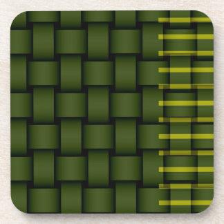Green stripes wicker retro graphic design drink coasters