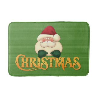 Green Stripes with Gold Christmas and Santa Bath Mat