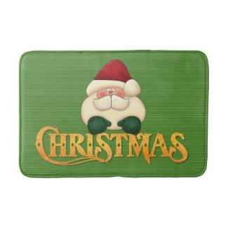 Green Stripes with Gold Christmas and Santa Bath Mat