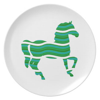 Green stripped Thoroughbred Dinner Plate