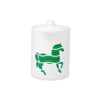 Green stripped Thoroughbred Teapot