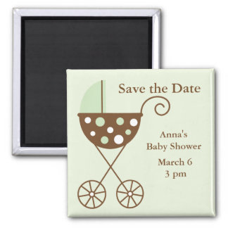 Green Stroller Baby Shower Save the Date 2 Inch Square Magnet