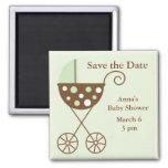 Green Stroller Baby Shower Save the Date Fridge Magnet