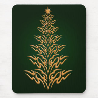 Green Stylish Christmas Tree Mouse Pad