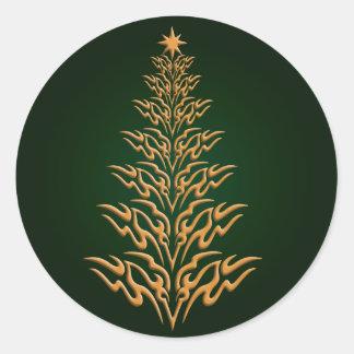 Green Stylish Christmas Tree Stickers
