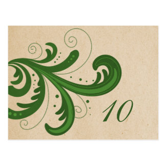 Green Stylish Swirls Table Number Postcard
