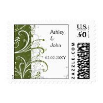green stylish wedding postage