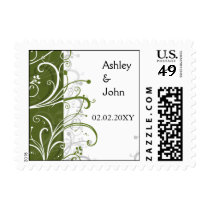 green stylish wedding postage