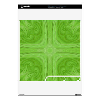 Green stylish wood pattern decals for the PS3 slim