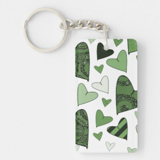 Green Stylized Hearts Keychain