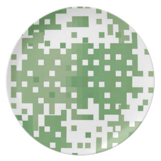 Green Suare Pixel Pattern Dinner Plate