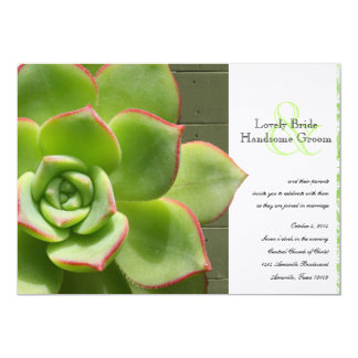 Green Succulent Damask Wood Wedding Invitation