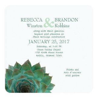 Green Succulent Horizontal Wedding Card
