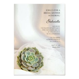 Green Succulent on White Bridal Shower Invitation