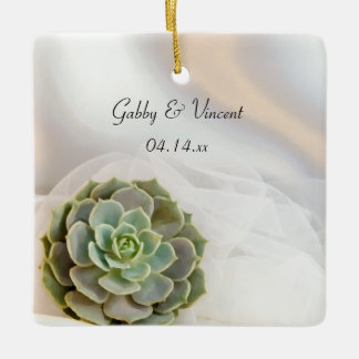 Green Succulent on White Wedding Ceramic Ornament