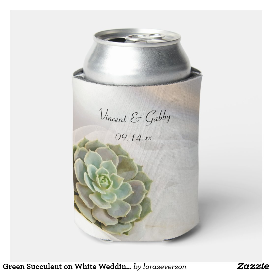 Green Succulent on White Wedding Favor Can Cooler