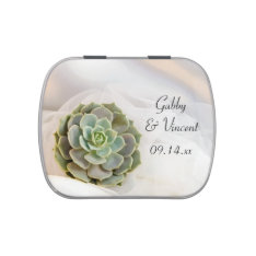 Green Succulent On White Wedding Favor Jelly Belly Tins at Zazzle