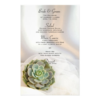 Green Succulent on White Wedding Menu