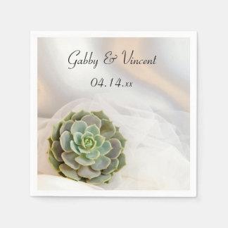 Green Succulent on White Wedding Napkin