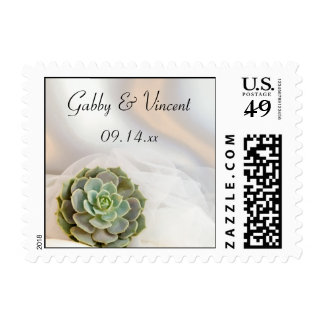 Green Succulent on White Wedding Postage