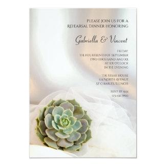 Green Succulent on White Wedding Rehearsal Dinner Card