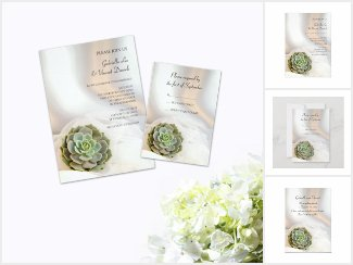 Green Succulent on White Wedding Stationery