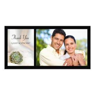 Green Succulent on White Wedding Thank You Photo Card