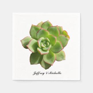 Green Succulent Personalized Napkin
