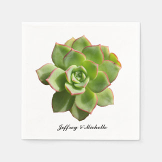 Green Succulent Personalized Disposable Napkins