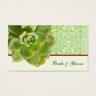 Green Succulent Vintage Damask Ivory Place Cards