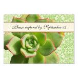 Green Succulent Vintage Damask Ivory rsvp 3.5x5 Paper Invitation Card