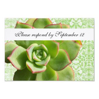 Green Succulent Vintage Damask rsvp with envelope Card