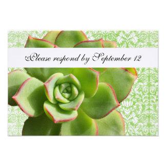 Green Succulent Vintage Damask rsvp with envelope Invitations