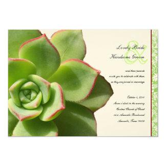 Green Succulent Vintage Wedding Invitation