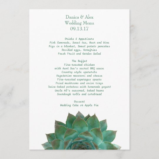 Green Succulent Wedding Menu Template Zazzle