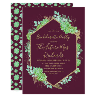 Green Succulents Bachelorette Party Invitation