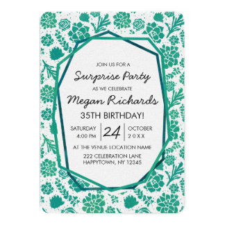 Green Succulents Chic Birthday Party Invitation