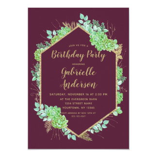 Green Succulents Gold Birthday Party Invitation