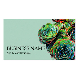 Green Succulents Modern Chic Business Card