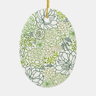 Green succulents pattern christmas tree ornament
