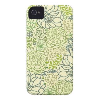 Green succulents pattern iPhone 4 Case-Mate case