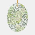 Green succulents pattern Double-Sided oval ceramic christmas ornament
