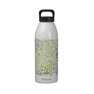 Green succulents pattern reusable water bottle