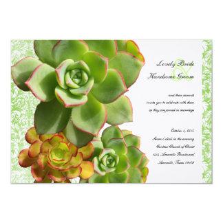 Green Succulents Vintage Damask Wedding Invitation
