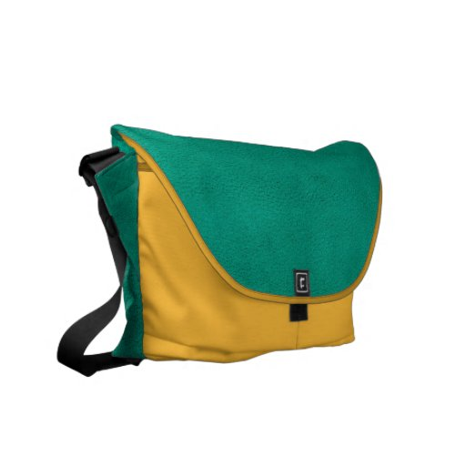 Green suede courier bag