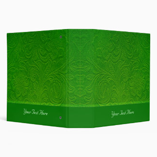 Green Suede Leather Look-Embossed Floral Design 3 Ring Binder