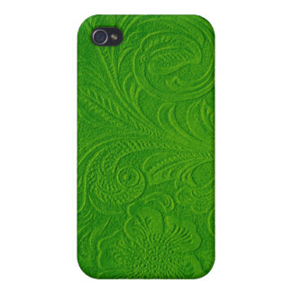 Green Suede Leather Look-Embossed Floral Design iPhone 4 Covers