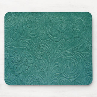 Green Suede Leather Look-Embossed Floral Design Mouse Pad