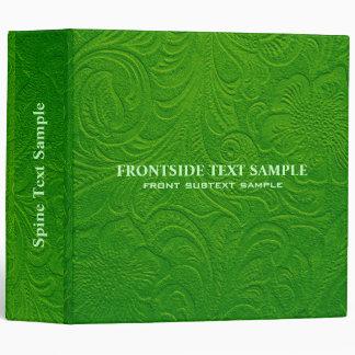 Green Suede Leather Look Embossed Flowers 3 Ring Binder
