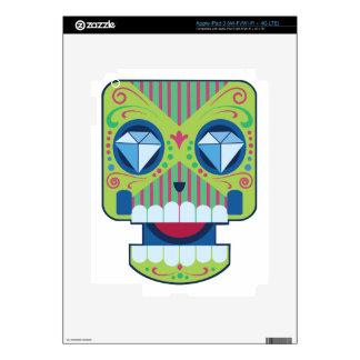 Green Sugar Skull Diamonds Decal For iPad 3